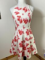 River Island Size 10 Fit & Flare Tea 60's Dress White Red Floral Pleated Texture