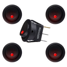 5PCS DC 12V Car Dot Auto Boat Round Rocker Red LED Light SPST Switch ON-OFF