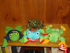 Plush Lot of 4 Green Yellow and Red Frogs Beanie Baby Ty Smoochie SAS Coin Purse