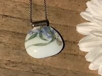 Recycled Broken Porcelain Jewelry, Blue Floral Pendant