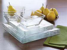 12-Piece Dinnerware Set Modern Square Clear Glass Dinner Plates Bowls Dishes