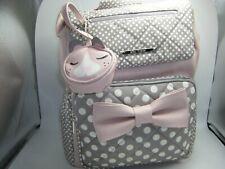 Betsey Johnson Diaper Bag Backpack Pink/Gray/White Dots Bag Charm Changing Pad