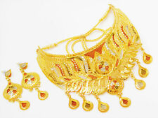 Indian Gold Plated Bollywood Fashion Jewelry Wedding Necklace Earring Women Set