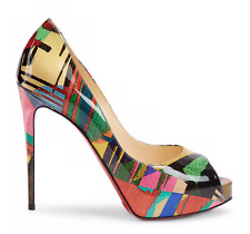 Christian Louboutin New Very Prive 120 Patent Mag Multicolor Peep Heel Pump 37