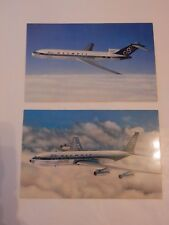 PAIR OF OFFICIAL OLYMPIC AIRLINES POSTCARDS  727 AND 707 AERONAUTICA  VGC