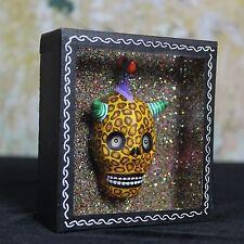 Day of the Dead Glitter Leopard Skull Shadow Box Mexican Folk Art Puebla Muertos