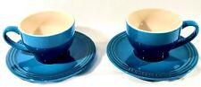Le Creuset Stoneware Set of 2 Cappuccino Cups and Saucers, Marseille New