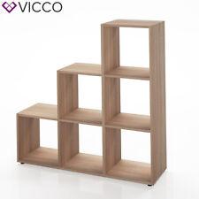 VICCO Treppenregal 6 Fächer Eiche Sonoma - Raumteiler Raumtrenner Bücherregal