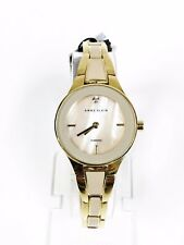 NEW ANNE KLEIN 2 TWO TONE GOLD+TAUPE,DIAMOND,MOP, BRACELET WATCH AK/2556TNGB