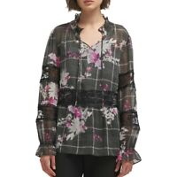 DKNY NEW Women's Lace-trim Printed Sheer Blouse Shirt Top TEDO