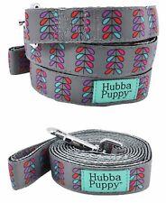 Hubba Puppy Retro Pretty Petals 6 ft Dog Leash Grey Purple Pink Nylon Cute Pets