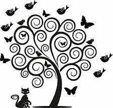 Huge Swirly Tree with Butterflies and Birds  vinyl wall decal