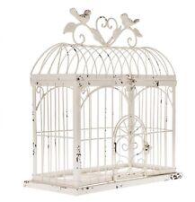 Cream Metal Rectangle Bird Cage Decorative Storage Flowers Wedding No Tax