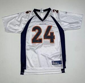 Boys Reebok Champ Bailey Denver Broncos Jersey Size Youth  L (14-16) White NFL