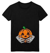 Halloween Maternity T Shirt Womens Pumpkin Baby Skeleton Hands Funny Costume Top