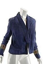 CATHERINE ANDRE Navy Suede 'Soho Spencer' Mosaic Sleeve Jacket NWT 40 US8  $1995
