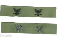 Petty Officer 3rd Class collar insignia subdued one pair mint condition US Navy