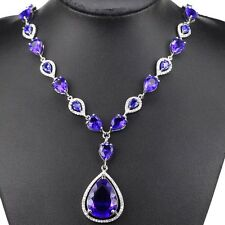 Stunning Sterling Silver Deep Blue Sapphire Necklace 2 Weimaraner Rescue char