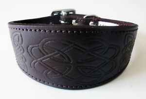 Brown Celtic Design Leather Dog Collars Whippet Collar Greyhound Collar Galgo