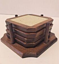 Vintage Wood And Tile Table Coaster Set