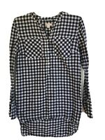 Merona Women's Plaid Checked High Low L/S Popover Blouse Top Size Small S