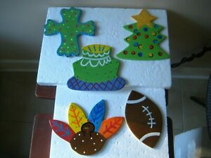 5 Coton Colors Happy Everything Attachments Xmas Tree Cross Cake Turkey Football