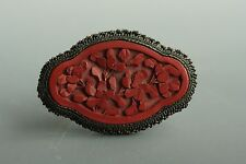 Antique Chinese Export Hand Carved Cinnabar Brooch Pin