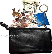 Leather Change Purse bag Ladies Wallet purse mini pocket zip coin case key ring.