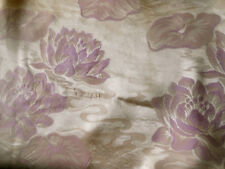 Antique Vtg. Water Lily Floral Satin Damask Fabric ~ Orchid Pink Lavender