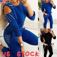 2Pcs Womens Tracksuit Hoodies Casual Beads Tops+Pants Set Lounge Wear Sport Suit