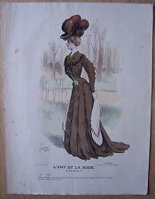 gravure ancienne mode couleur L'ART ET LA MODE XXV N° 41 - LUCY