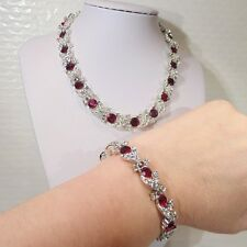 Vintage signed Lisner dark red white rhinestone necklace bracelet set silvertone