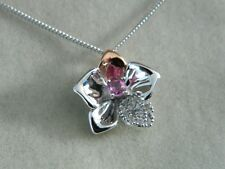 Clogau Silver & 9ct Rose Welsh Gold Orchid Pink Sapphire Pendant RRP £280.00