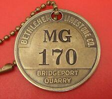 Antique Mining Brass Tool Tag: BETHLEHEM LIMESTONE; Bridgeport PA Quarry
