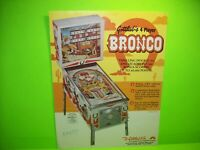 Bronco Pinball Machine FLYER Original 1977 Gottlieb Game Artwork Western Cowboy