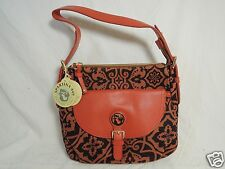 NWT - Spartina 449 Maggioni Pocket Hobo Brunt Orange/Plum Handbag/Purse Bag $135