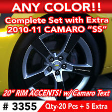 """25pc SET 2010-11 CHEVY CAMARO SS WHEEL 20"""" RIM ACCENTS DECAL STICKER - ANY COLOR"""