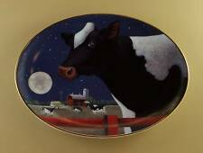 Lowell Herrero Harvest Moon Cow Plate Oval Franklin Holstein Farm Full Moon