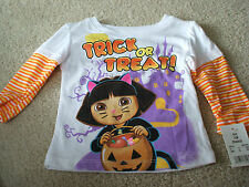 NWT Licensed Dora Explorer T Shirt 12 Months Halloween Trick or Treat! Glitter!