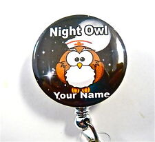 ID Badge RETRACTABLE REEL Night Nurse Owl Medical, Student.Doctor,PEDIACTRICS