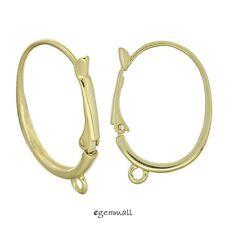 2 HUGE 14kt Gold Plated Sterling Silver Oval Leverback Earring Hook 27mm #97798