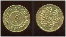GUYANA 5 CENTS 1991 MONETA MOLTO RARA