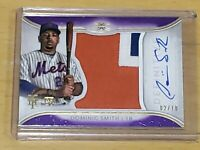 2018 Topps Definitive Dominic Smith Rookie Autograph SSP /10 Sick Patch RC Auto