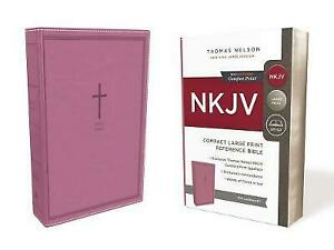 NKJV, Reference Bible, Compact Large Print, Leathersoft, Pink, Red Letter, Comfo