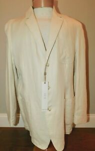 NEW AXIS CREAM 100% SOFT LINEN 3 BUTTON SPORT COAT BLAZER JACKET L LARGE NWT