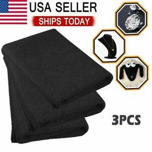 3Pieces Black Self Adhesive Back Felt Sheets Fabric Sticky Art Craft Making US