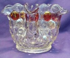 Vintage Clear Glass Thousand Eye Red/Amber/Iridescent Crimped Vase Bowl