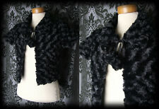 Gothic Black Faux Fur PERNICIOUS Tie Bolero Shrug Jacket 10 12 Victorian Vintage
