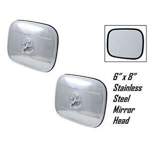 """1947-72 6""""x8"""" Stainless Steel Exterior Rectangular Square Rear View Mirror Pair"""