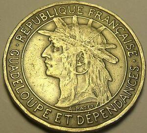 Rare Guadeloupe 1921 Franc~600,000 Minted~SugarCane~Last Year Ever
